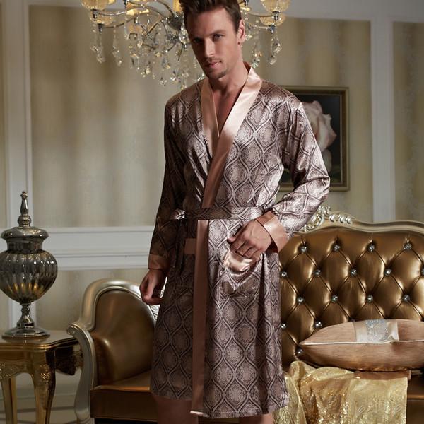 Xifenni Robes Men Softness Satin Silk Sleepwear Male Geomtric Pattern Bathrobes Long-Sleeve Pijama Sleeping Robe 20505 C18110901