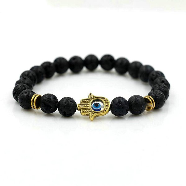Matte Onyx Lava Stone 8mm Men Lucky Hamsa Of Hand Beads Bracelets Blue Eyes Chakra Lovers Energy Bracelets pulseira