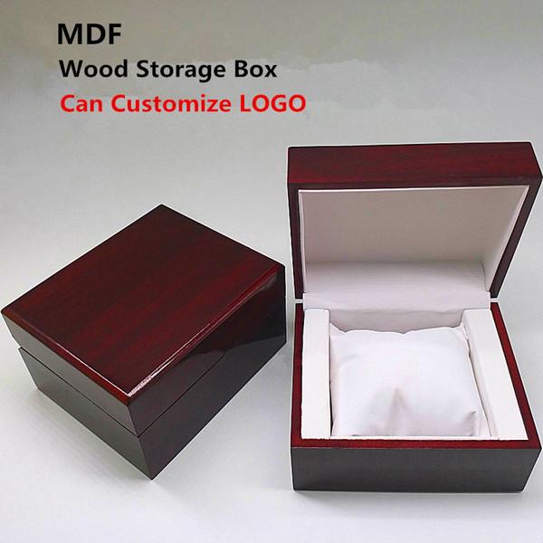 2018 MDF Holz Uhr Aufbewahrungskoffer New Wood Red Display Mechanische Geschenkboxen Schmuck Pack Fällen können LOGO anpassen