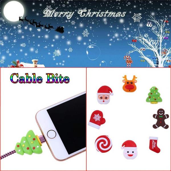Симпатичные рождественские укусы Anti-Break USB кабель для передачи данных зарядное устройство протектор для Iphone кабель моталки шнур организатор управления провод Saver