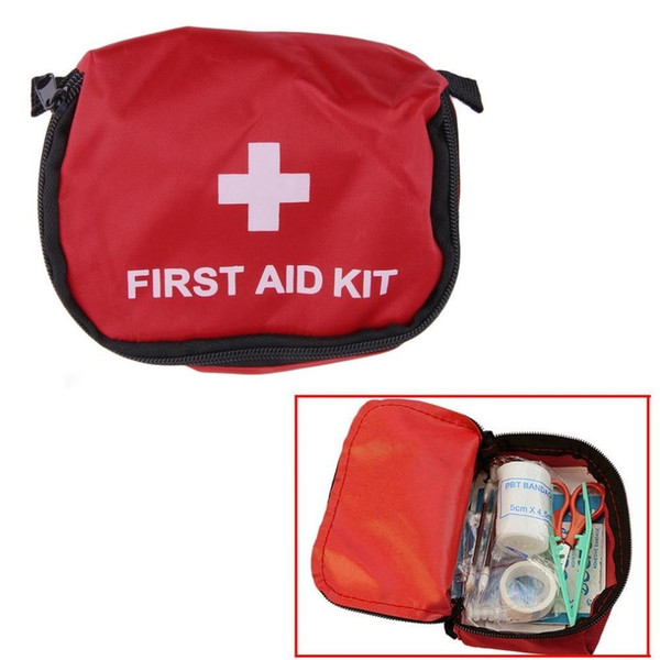 First Aid Kit Bag 0.7L Red PVC Outdoors Camping Emergency Survival Empty Bag Bandage Waterproof Storage Bag 14x10x5CM.