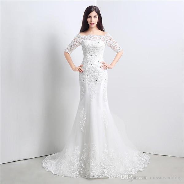 c923088e96a1a La mitad de manga larga vestidos de novia barco cuello sirena encaje  apliques boda largo elegante