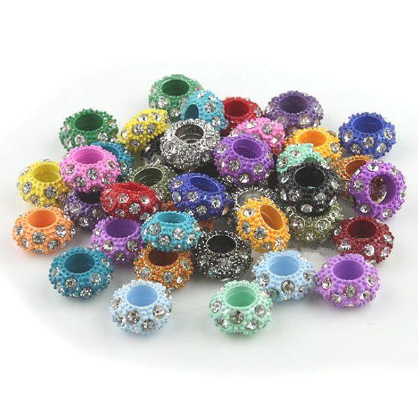 100 stücke Klar Strass Kristall Mischfarben Legierung Rondelle Spacer Großes Loch Charme Europäischen Perlen Für Die Herstellung Schmuck Armbänder
