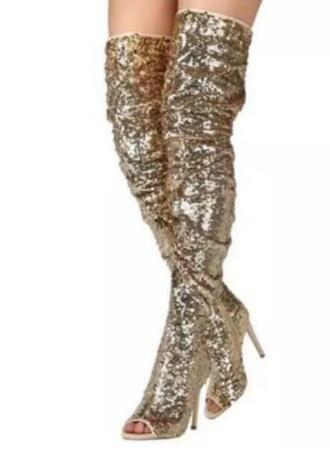 2018 women thigh high bling bling boots sexy tall gladiator sandals booties peep toe gold sequin boots thin heel dress shoes