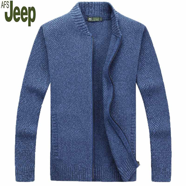 AFS JEEP 2018 Herbst und Winter neue Herren Pullover Kragen langärmelige Volltonfarbe Zipper Sweater Fashion Slim Top 85