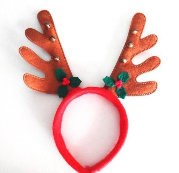 Meninos Meninas decoração de natal festa hairband suprimentos Rena Chifre de Santa Chapéu chapéu de Natal hoop Verde Vermelho cor Marrom SN1587
