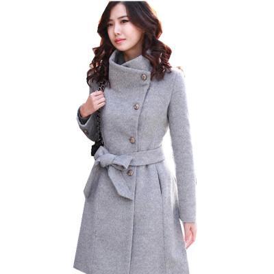 Europe et États-Unis automne et hiver transfrontaliers nouvelle veste coréenne longue section manteau manteau de laine à manches longues pour femmes