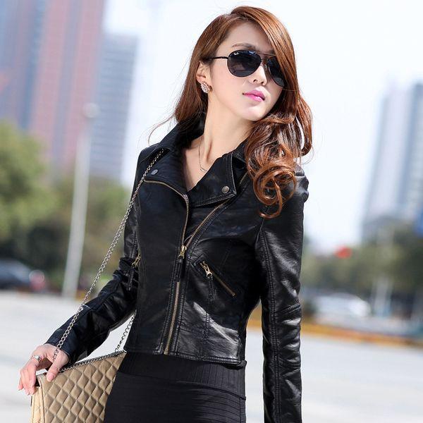Female 2018 New Design Spring Autumn PU Leather Jacket Faux Soft Leather Coat Slim Black Rivet Zipper Motorcycle Red Jackets
