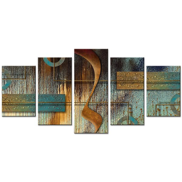 5 Pieces Abstract Canvas Wall Art Painting Geometric Artwork Pictures Wall Print For Home Decor with Wooden Framed
