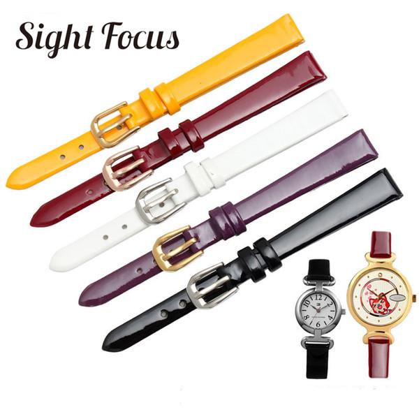 6mm 8mm10mm Patent Dana Derisi Inek Deri Izle Bantları Kayış Trend Sarı Mor Şarap Siyah Beyaz Saat Kayışı Kız Horlogebandjes