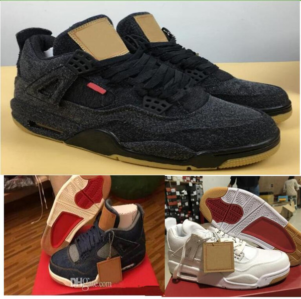 2018 New 4 4s Denim LS Travis Men Basketball Shoes Mens Blue Jeans Sneakers designer Trainers Basket ball Brand Zapatos Sports shoes 41-47