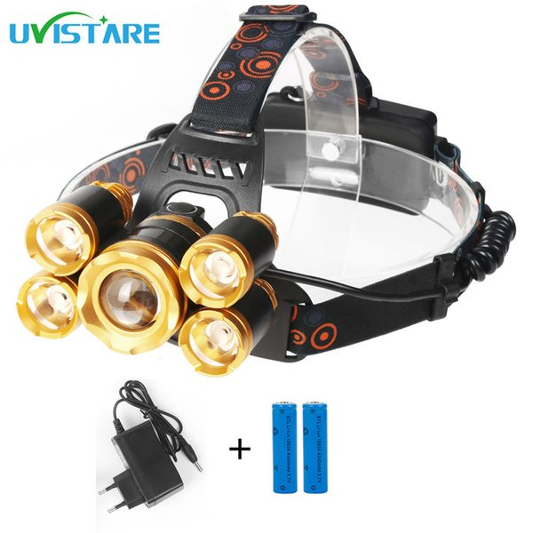 Head Torch Rechargeable 12000 Lumens Super Bright Zoomable Waterproof 5 LEDs CREE Headlamp Headlight for Outdoor Hiking Camping