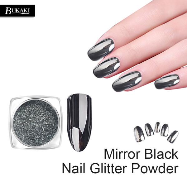 BUKAKI 1 g / Botella Negro Espejo Dazzling Nail Glitter Metal Nail Art Cromo Brillante Ultra Delgado Pigmento Polvo Decoración