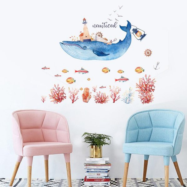 Wholesale New underwater world whale Wall Stickers Home Decor bedroom living room removable decorative wall stickers