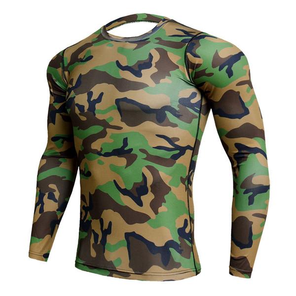 9dfccc2ab035 Army Green Camo 3D Sportswear Shirt Men Elastic Running Sport Shirt Quick  Dry Gym Trainning T Rashgard Compression
