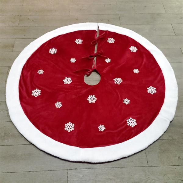 48 pouces brossé sapin de Noël jupes décorations de Noël pour arbre rouge jupe avec des flocons de neige blanches nouvel an joyeux Noël fournitures