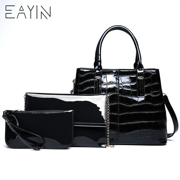 EAYIN Women Patent Leather Handbags Luxury Women Bags For Girls Stone Design Bag For Party Lady's Lacquered Shoulder Hand Bag