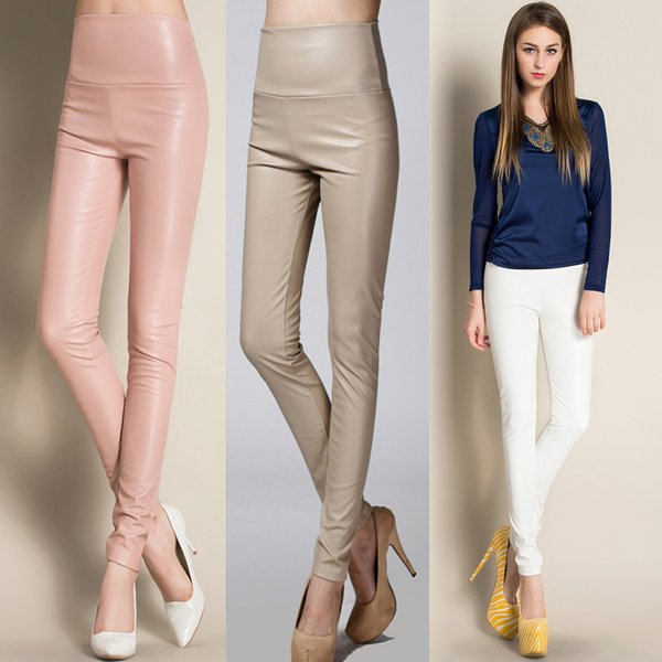 On sale 2018 women ladies winter warm Leather high waist stretch Pants female elastic stretch Slim pencil skinny fleece trousers S18101606