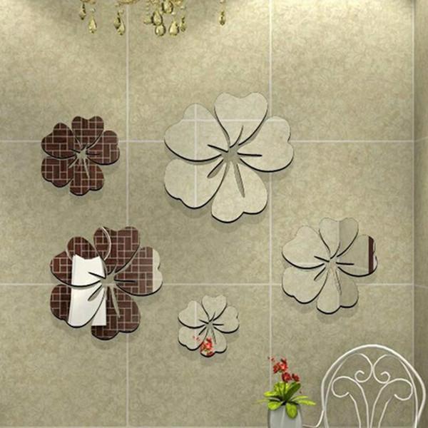3D Acrílico Criativo Cinco Flores De Cristal Estéreo Espelho Adesivos de Parede Poster Home Decoração Acessórios Home Decor Wall Decal