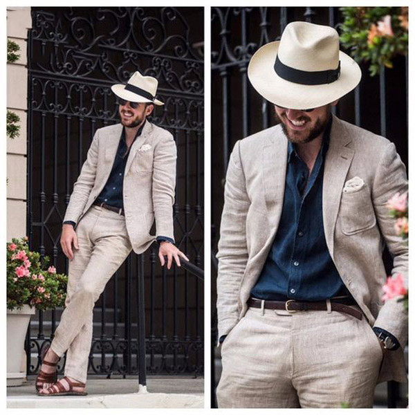 Beach Beige Linen Men Suits for Wedding Suit trajes de hombre Groom Tuxedo Terno Masculino Slim Fit Best Man Blazer Prom Jacket Pants