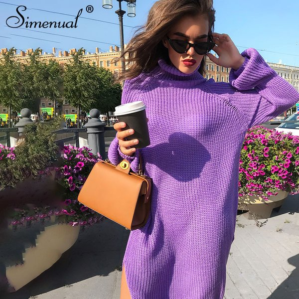 wholesale Side slit sweater dress autumn winter knitted clothing turtleneck long sleeve purple vestidos straight women dresses