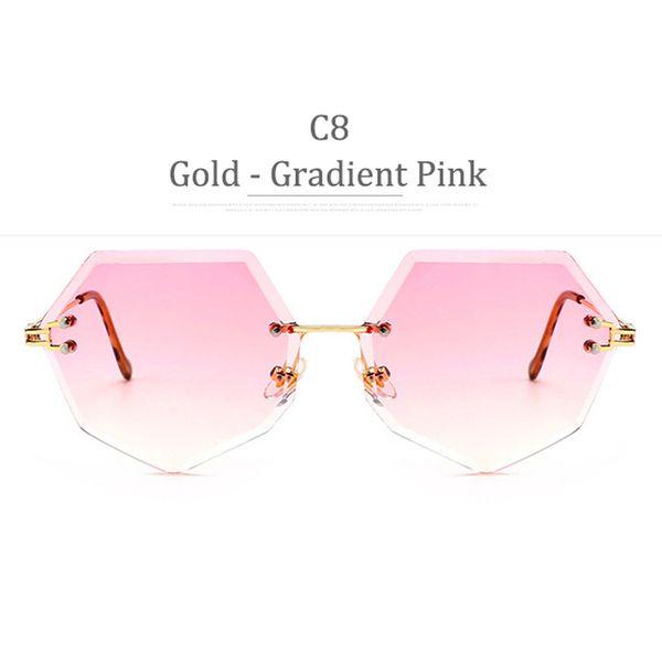 Lente rosa sfumata con montatura in oro C8