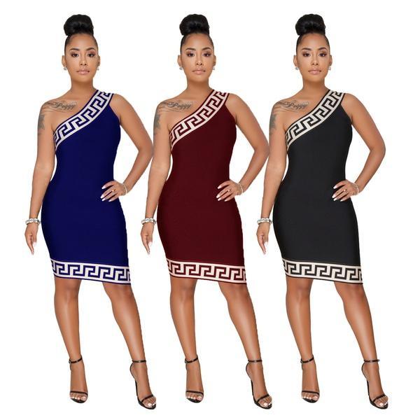 Summer Fashion Women's Sexy Print Oblique Shoulder Dresses Plaid Edge Sleeveless Asymmetrical Hem Club Party Cocktail Midi Slim Fit Dress