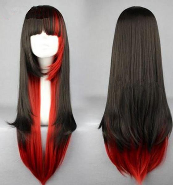 Parrucche Prodotti dritto parrucche nere e rosse ombre cosplay lolita Parrucche cosplay animazione giapponese FZP33