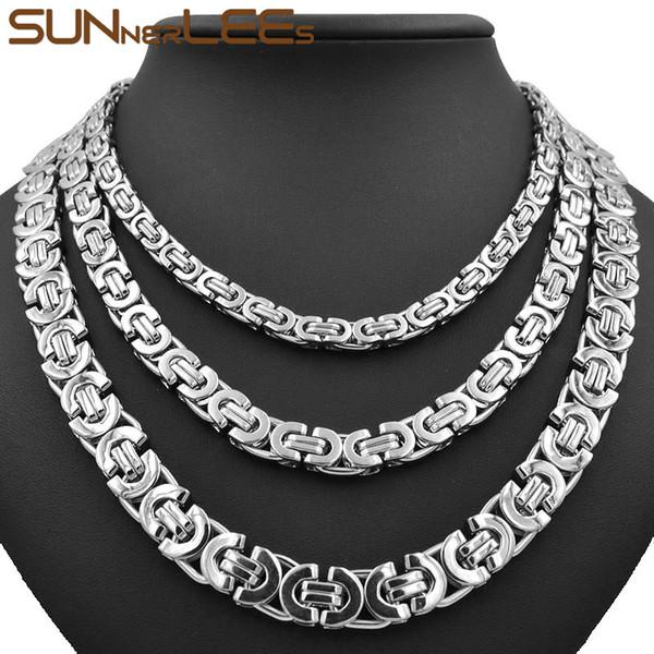 Modeschmuck Edelstahl Halskette 6mm 8mm 11mm Box Byzantinischen Gliederkette Silber Farbe Für Herren Damen SC07 N