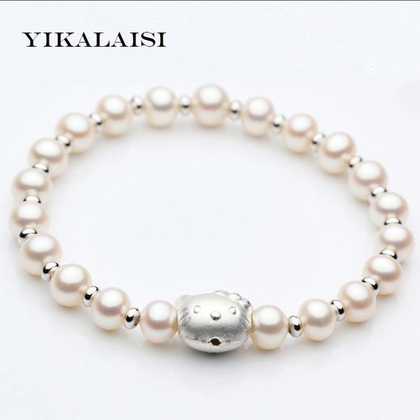 YIKALAISI 2017 Braccialetto di fascino Braccialetto di perle Hello Kitty Braccialetto 100% naturale perla d'acqua dolce Per le donne