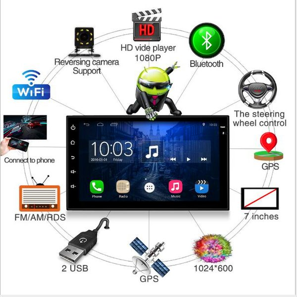 Universal Android 6.0 Doppel 2 Din Radio 7 '' Auto DVD Player MP3 MP5 Auto Multimedia Player Audio Video FM In-Dash Stereo Bluetooth