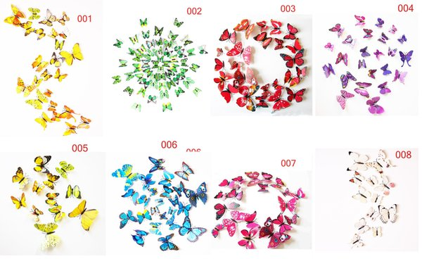 Fashion Beautiful Full Color Simulation 3D Butterfly Wall Stickers 12PCS/Lot Decals Home Decor for Fridge Living Room Home Decoration