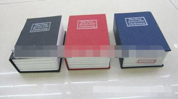 MINI Size Simulation Dictionary Book Safe Cash Money Jewelry Home Secret Locker Storage Box Case with a key lock 3 Colors 48pcs/lot