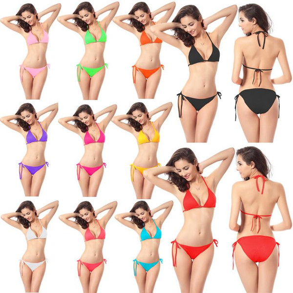 Women's Clothing Bikini Swimwear Solid & Ombre Fringe Strap Halter Padded Lady Swimming Swimsuit bathing Suit Top & Bottom 50pcs