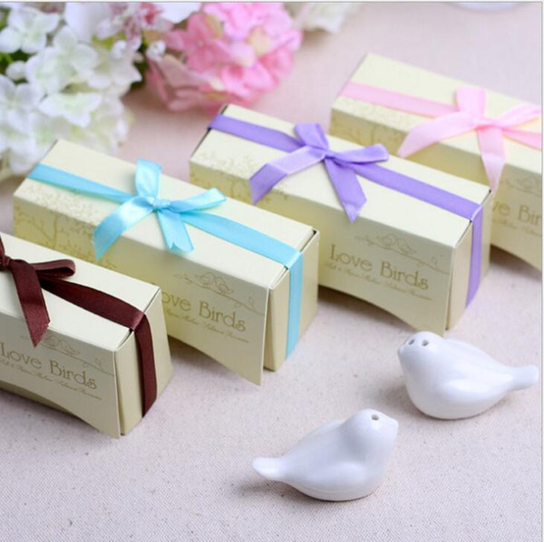 Wedding favor 400pcs=200boxes Ceramic Wedding Gifts Favors for Guests Love Birds Salt and Pepper Shakers ,Best gift for guests Free Shipping