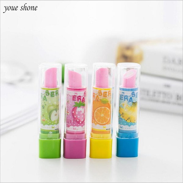 1Pcs/lot Korean Stationery Creative Eraser Lipstick Modeling Rubber Cute Style Pupils Stationery Erasers Office School Supplies