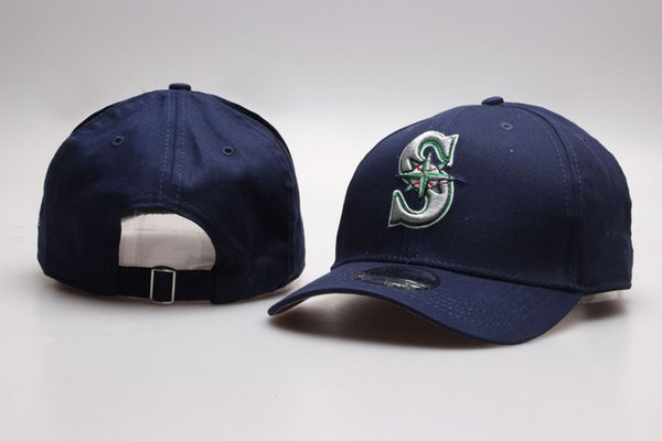 Art- und Weisemänner Baseball Mariners Hysteresen-Hüte Golf-Visor stickte Buchstaben S Sport-Baseball-flache Kappen in Naby blaue Farbe