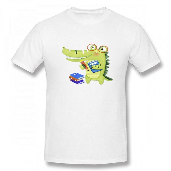 Handsome Books Dinosaur Men Novelty Funny Good Quality T Shirt Men T Shirt Print Cotton Short Sleeve T-shirt