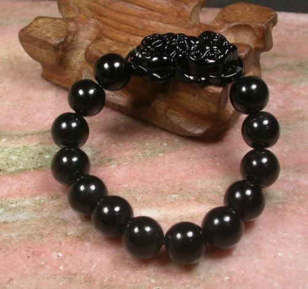 14mm CHINESE Black JADE Bead Dragon Pi Xiu Coin Bangle Feng Shui Bracelet