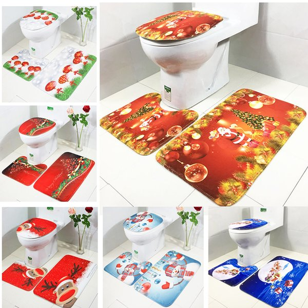 Christmas Decor 3 Pcs Bath Mats Xmas Tree Snowman Printed Bathroom Mat Set Flannel Washroom Rugs Toilet Cover Bath Mats Carpet