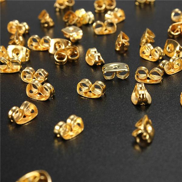 1000 adet / grup Altın Gümüş Kaplama Kelebek Küpe Arkaları Stoppers Earnuts Kulak Tıkaçları Alaşım Bulgular DIY Takı Aksesuarları Toptan Fiyat