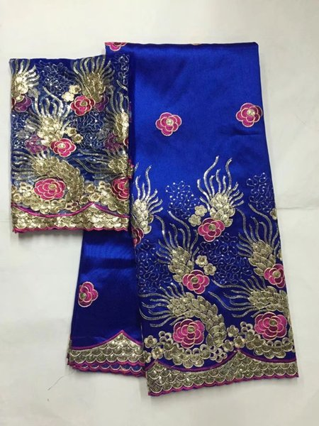 5 Yards Top sale royal blue african George lace fabric with flower sequins design and 2yards net lace for clothes JG30