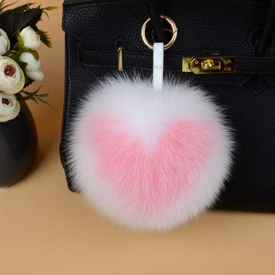 15cm Large Soft New style Real Fox Fur Heart-Shaped Fur Pompom Ball Charm Key Chain Keyring Accessories Phone Purse Handbag Pendant