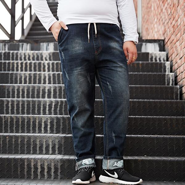 New Arrival Men Casual Ripped Blue Printed Jeans Pants Mens Large Big Size M-8XL Hip-hop Fashion Jean Slim Fit Denim Trousers