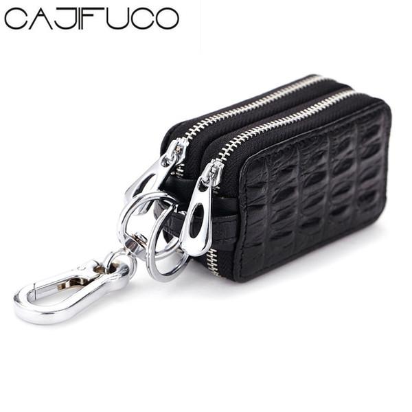 CAJIFUCO Krokodil Stil Schlüsselhalter Frauen Und Männer Echtes Leder Schlüsselmappe Doppel-reißverschluss Auto Brieftasche Leder