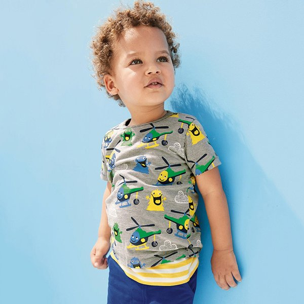 Toddler Boys Gray Cotton T Shirt Kids helicopter Design Cartoon T-shirts Baby Boy Short Sleeve O-neck Top Clothing