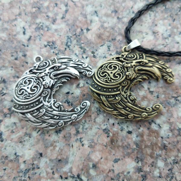 il commercio all'ingrosso 10PCS Legendry Viking Raven Necklace Vikings La collana del corvo dell'uccello del Odin