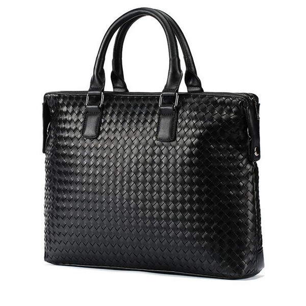 Factory wholesale brand fashion hand woven bag briefcase in hand woven leather woven leather handbag business trend brand laptop bag