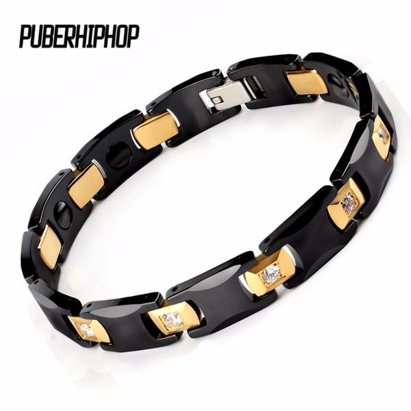 New Bio Energy Ceramic Bracelet Bangle Health Magnetic Power Titanium Bracelets CZ Health Chain Charms For Women/Men Jewelry