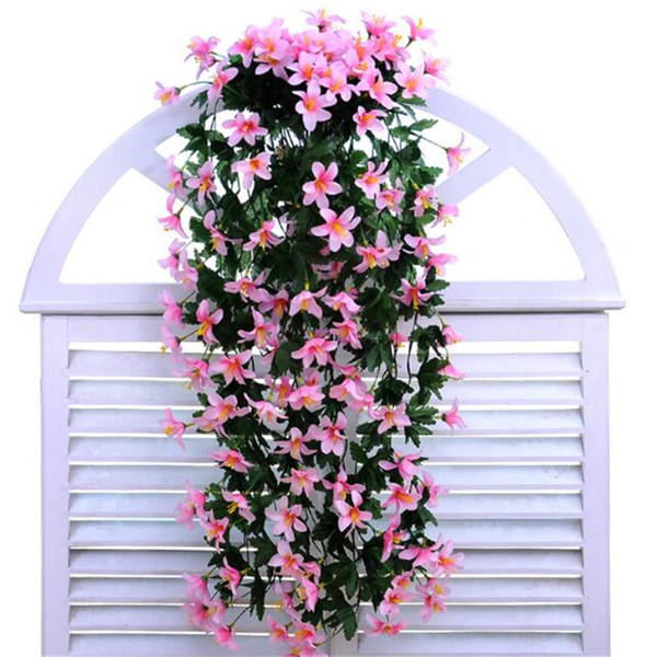 2 Wall Flower Vase Artificial Lily Flower Rattan Flowers Plastics Flower For Wedding Party Home Wall Floral Decorations